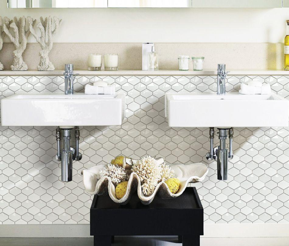 Biała łazienka Galeria Trójwymiarowa Mozaika Z Mozaikowe