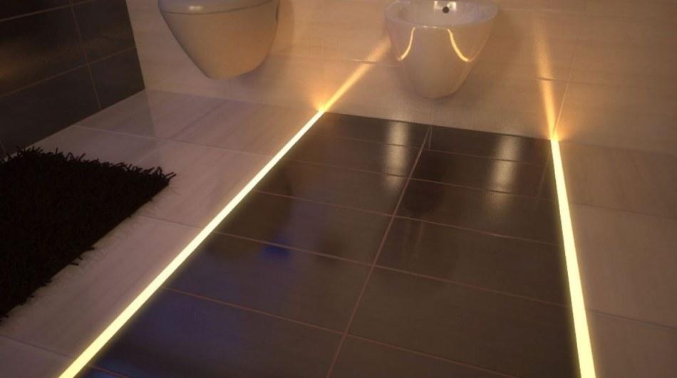 Taśma LED biala ciepła z zasilaczem LED zamontowana w profilu SO-HR