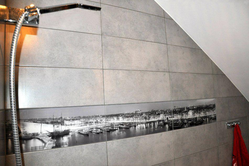 Płytki dekoracyjne Amsterdam w łazience na poddaszu