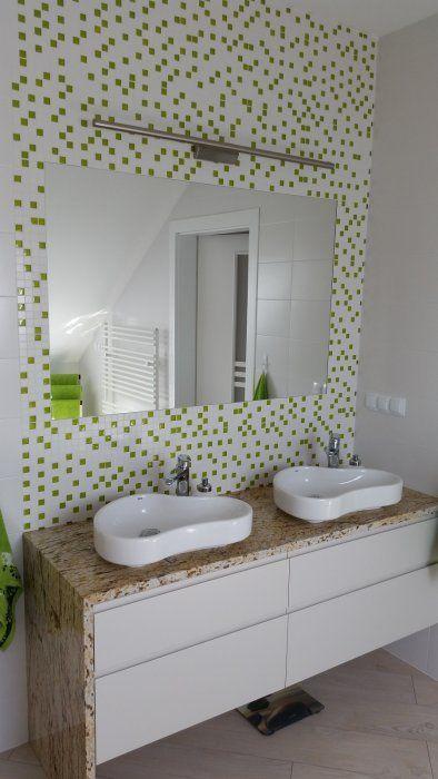 Galeria Zdjęć Zdjęcie Biało Zielona Mozaika Na ścianie W
