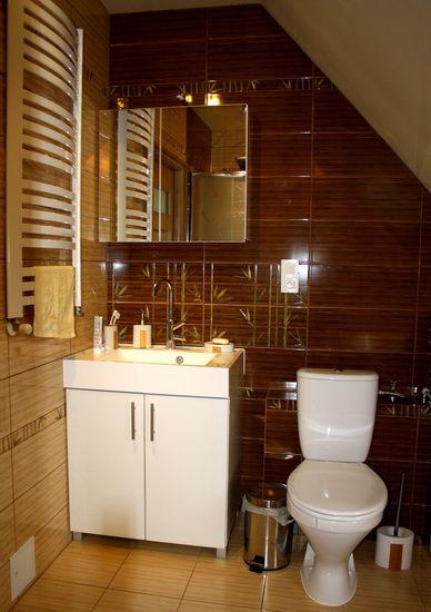 Brązowe płytki w łazience na poddaszu