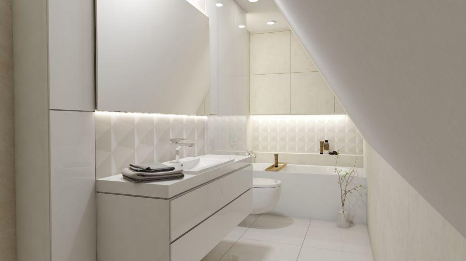 Łazienka w białym kolorze na poddaszu