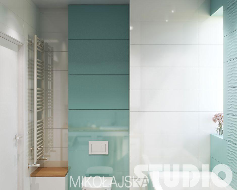 Galeria Zdjęć Zdjęcie Mała Turkusowa łazienka Wszystko