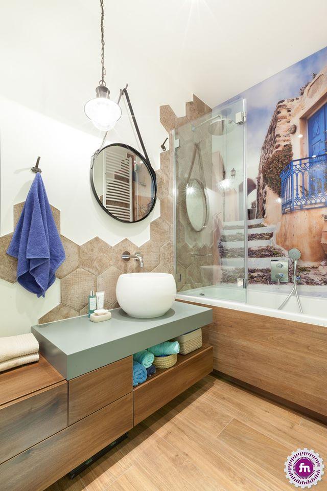 Heksagony W łazience Galeria Fototapeta Na Szkle Pod Prysznicem