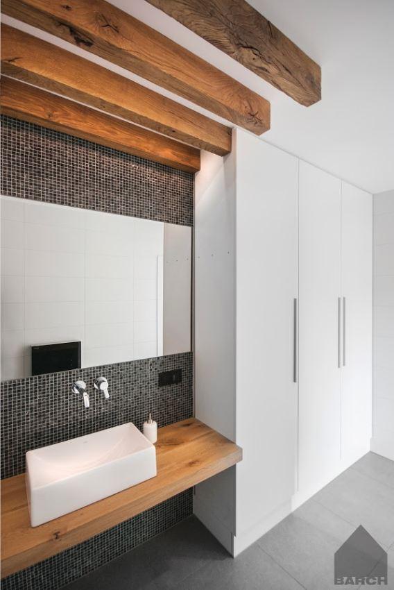Adrian B Galeria Biało Szara łazienka Z Drewnianym Blatem