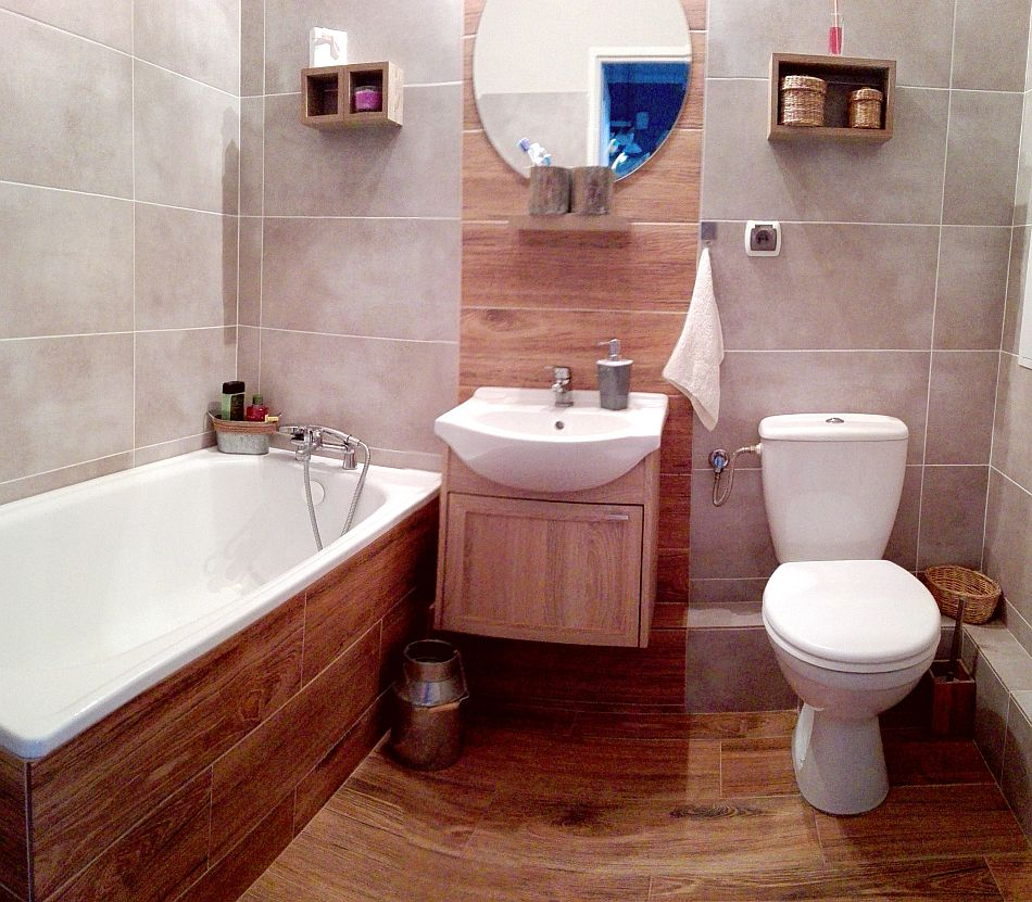 Płytki w łazience jak deski