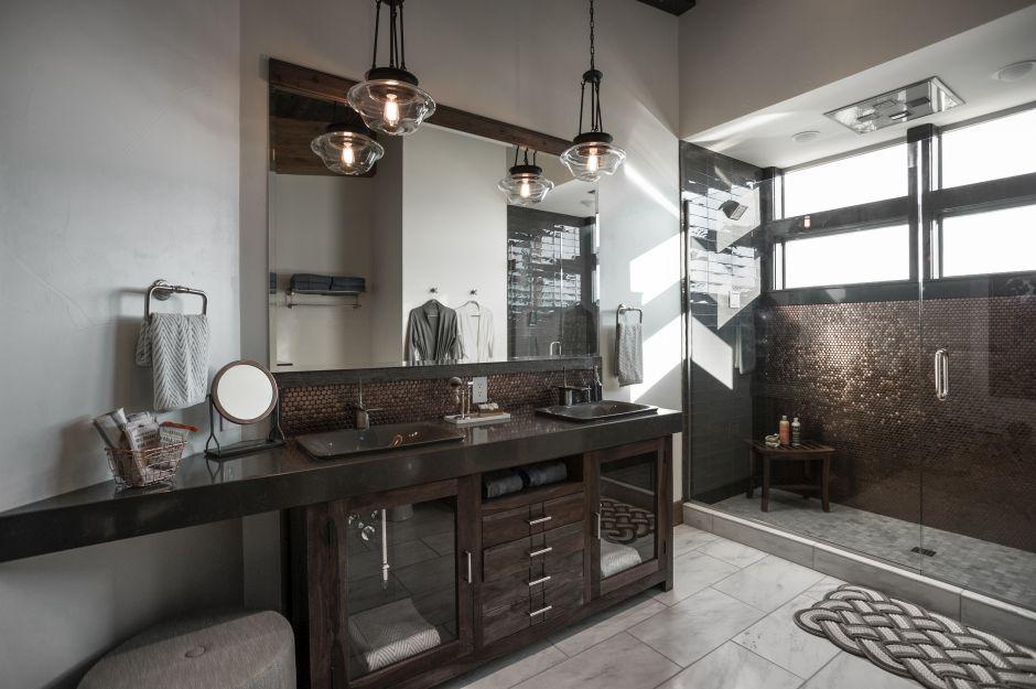łazienka W Stylu Industrialnym Galeria Brązowa Heksagonalna