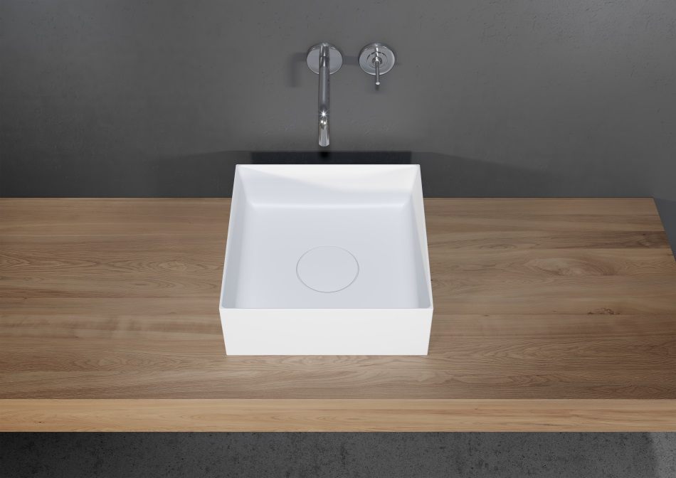Riho - umywalka Thin z serii Solid Surface 2.0 (kwadratowa)