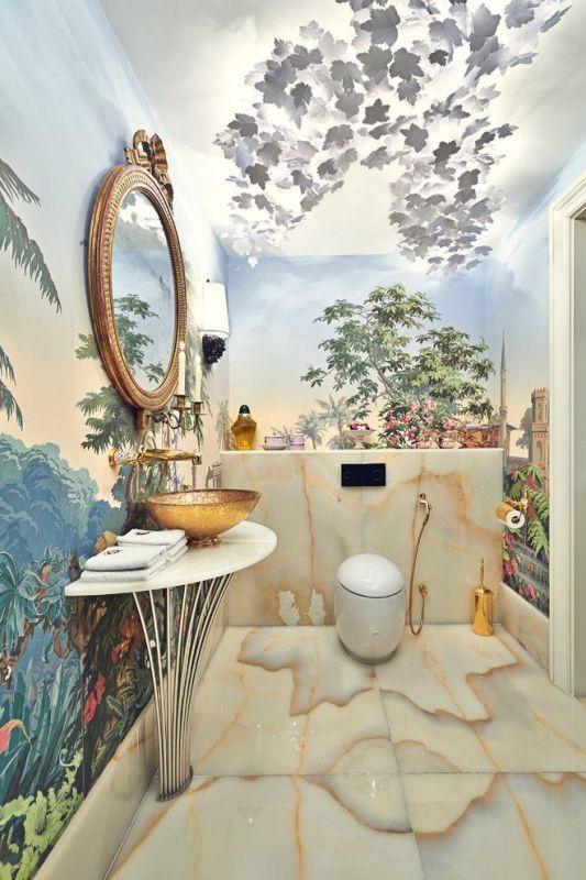 Galeria Zdjęć Zdjęcie Złota Umywalka W łazience Z Tapetą