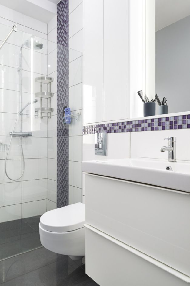 Galeria Zdjęć Zdjęcie Fioletowa Mozaika W Białej łazience