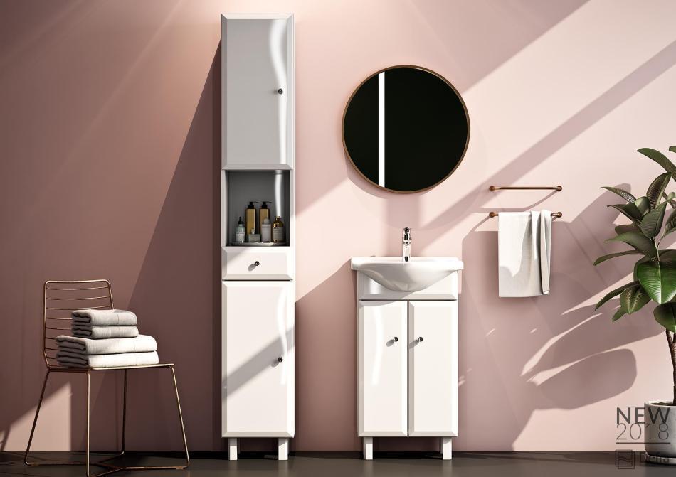 Kolekcja Alesia Defra lakier biały połysk - meble łazienkowe