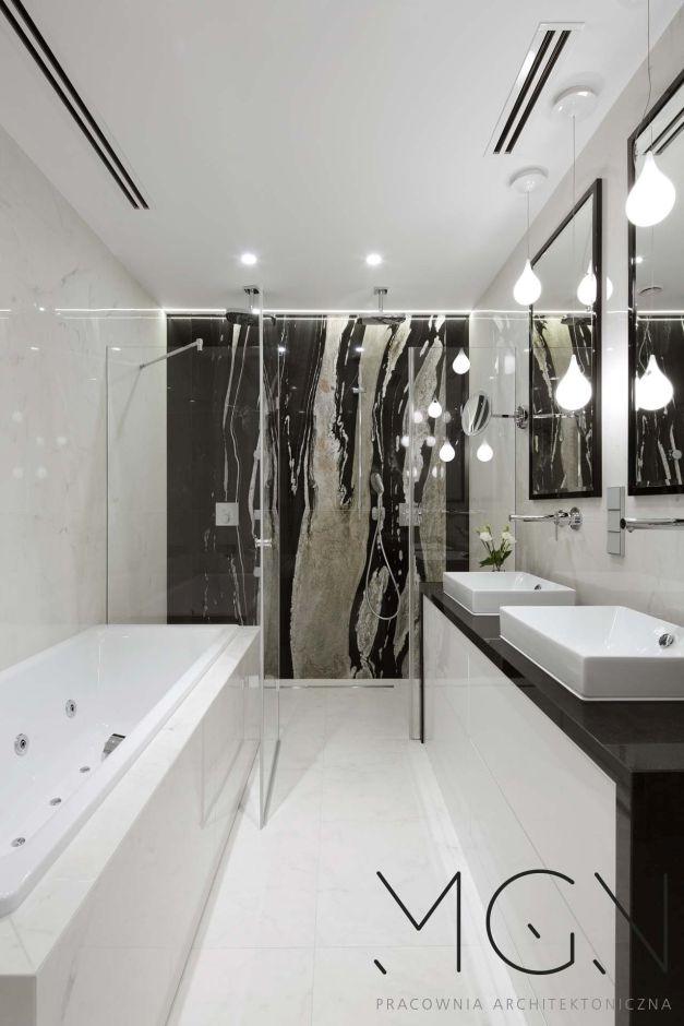 Galeria Zdjęć Zdjęcie Biało Czarna łazienka Z Wanną I