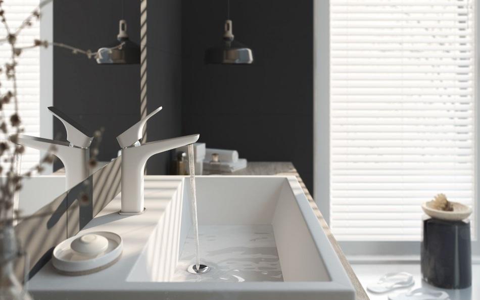 bateria umywalkowa stojąca Deante Hiacynt - chrom/biały