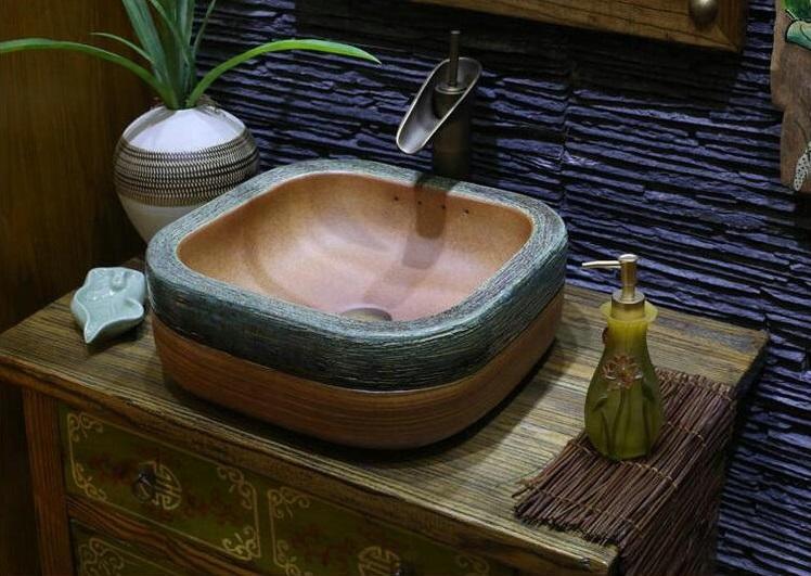 Ceramiczna umywalka grawerowana i ręcznie malowana Retrowoda.pl Sedina