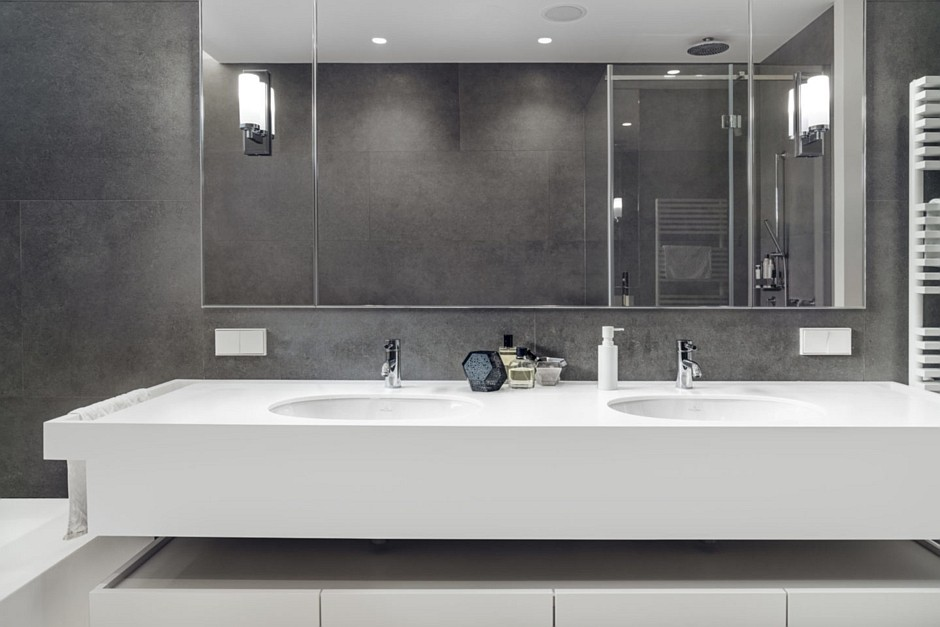 Galeria Zdjęć Zdjęcie Aranżacja Szarej łazienki Z Dwiema