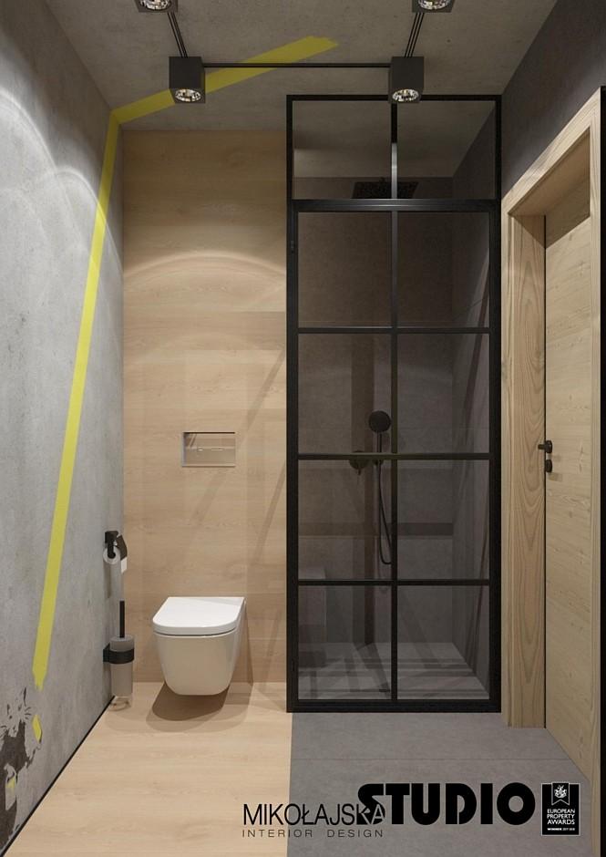 Mala Loftowa Lazienka Galeria Czarne Loftowe Drzwi Prysznicowe W