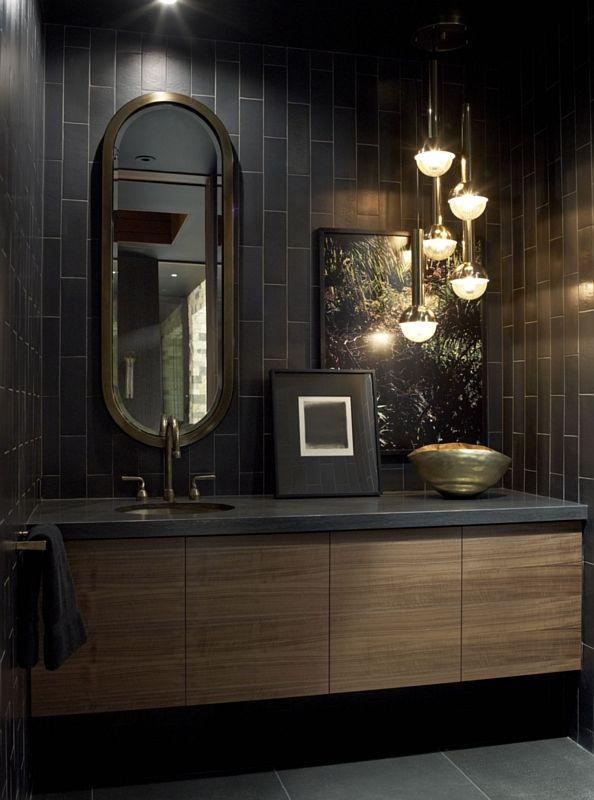 Galeria Zdjęć Zdjęcie Czarna łazienka Z Drewnianą Szafką