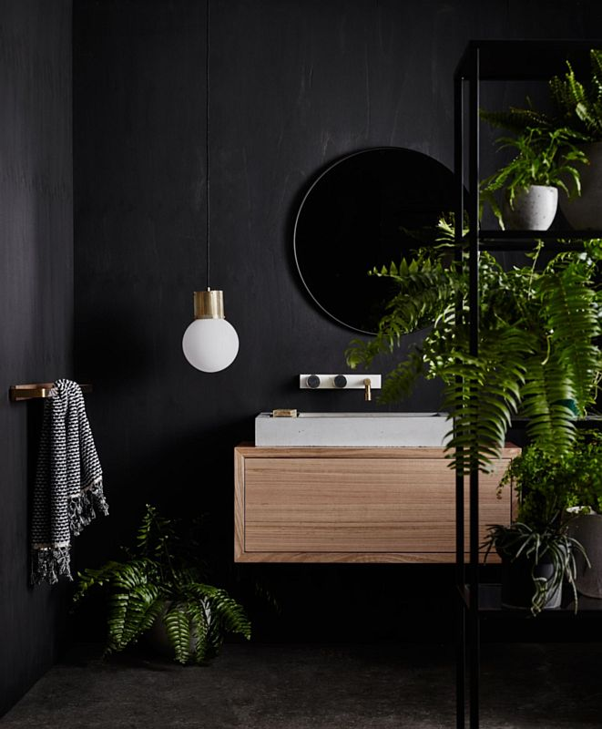 Galeria Zdjęć Zdjęcie Czarna łazienka Z Elementami Drewna