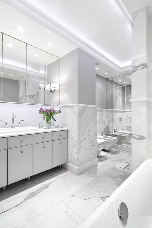 Biała łazienka Galeria Elegancka Biało Szara łazienka