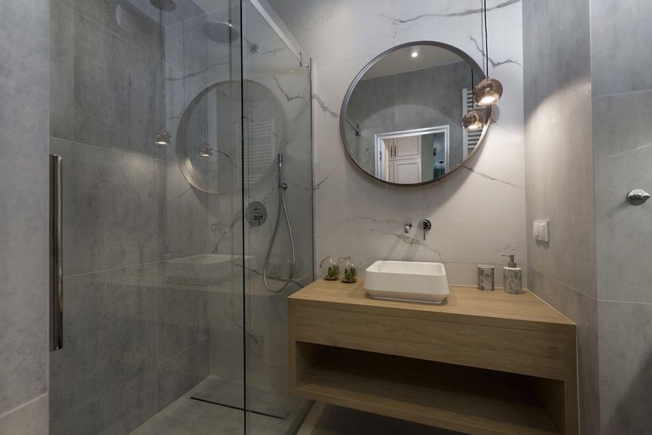 Galeria Zdjęć Zdjęcie Mała Szara łazienka Z Kabiną Walk