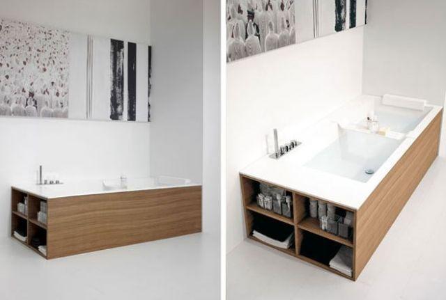 Luxum - wanna w zabudowie z półkami