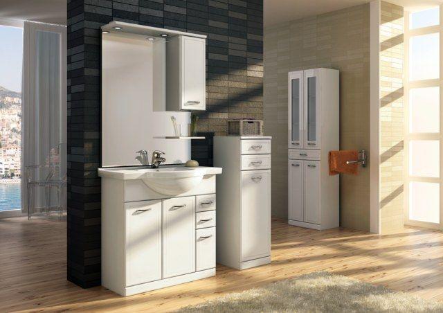 lustro łazienkowe z panelem, szafką i półką Elita z kolekcji Aqua Line