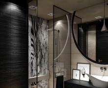 Stylowa łazienka z fototapetą