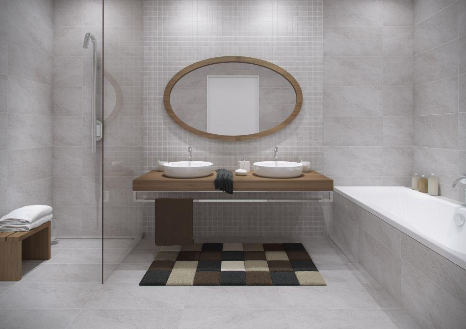 szara łazienka - galeria - szara łazienka z drewnem Opoczno - Łazienkowe inspiracje, aranżacje ...