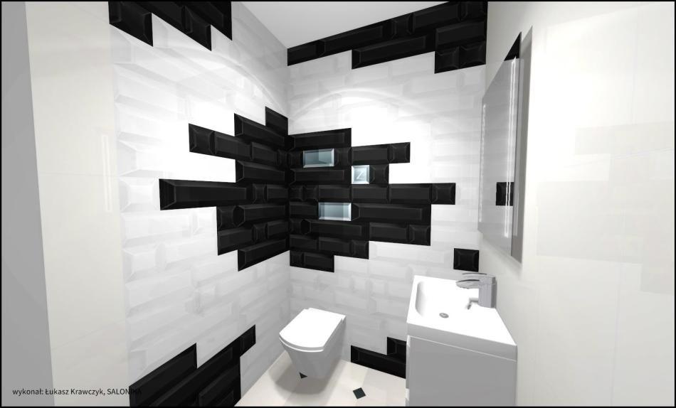 Salonika - galeria - biało-czarna łazienka - projekt - Łazienkowe inspiracje, aranżacje łazienek ...