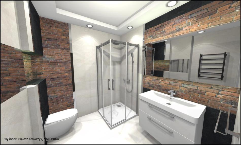 Salonika - galeria - cegła w łazience - projekt - Łazienkowe inspiracje, aranżacje łazienek ...