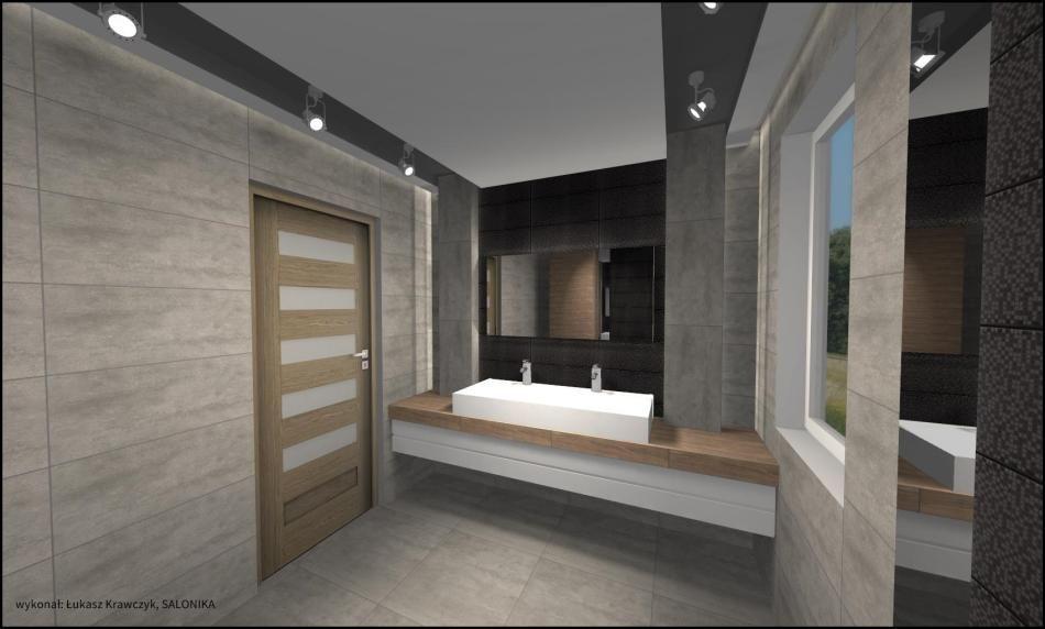 Salonika - galeria - projekt łazienki - drewno i beton - Łazienkowe inspiracje, aranżacje ...