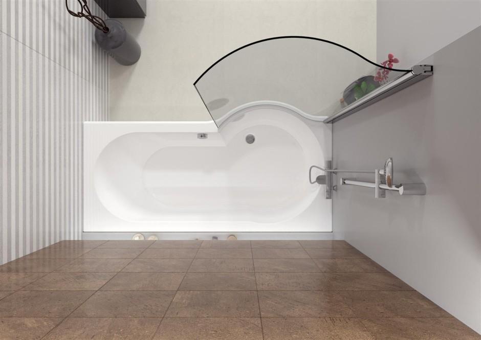 DORADO - wanna akrylowa asymetryczna z panelem i parawanem - RIHO