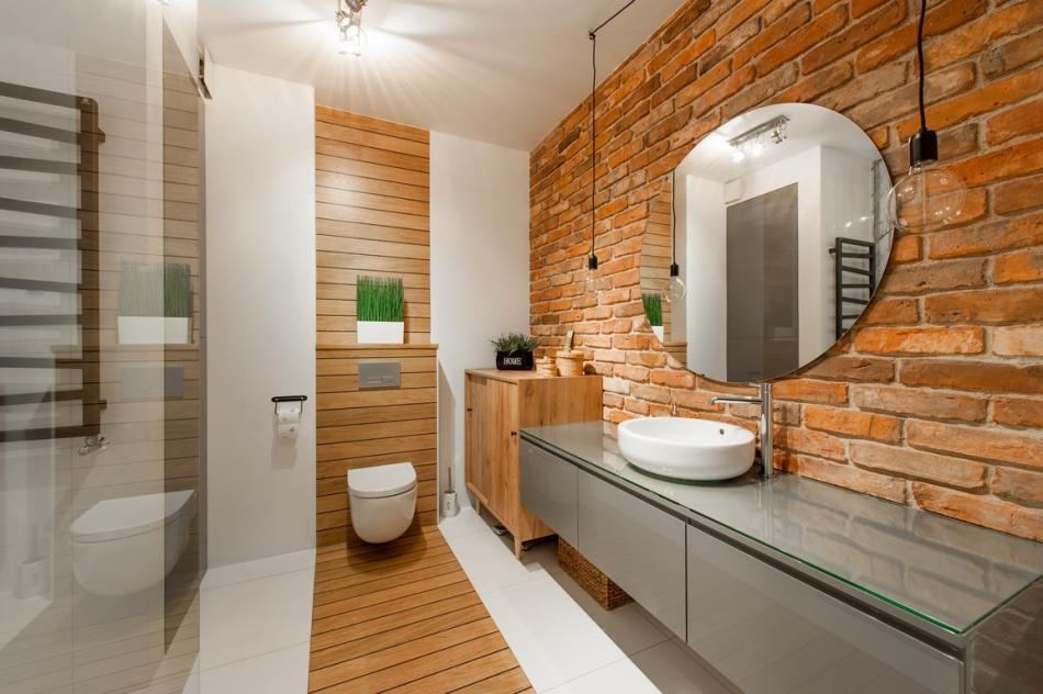 cegła w łazience