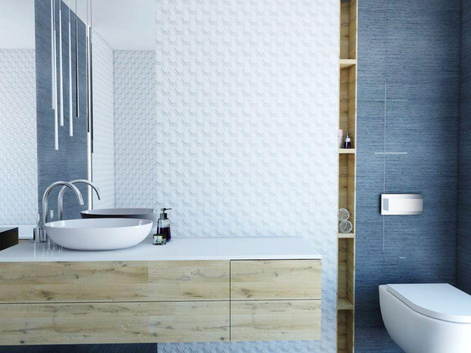 Aranżacje łazienek w bloku - galeria - Białe płytki 3d w łazience w bloku - Łazienkowe ...