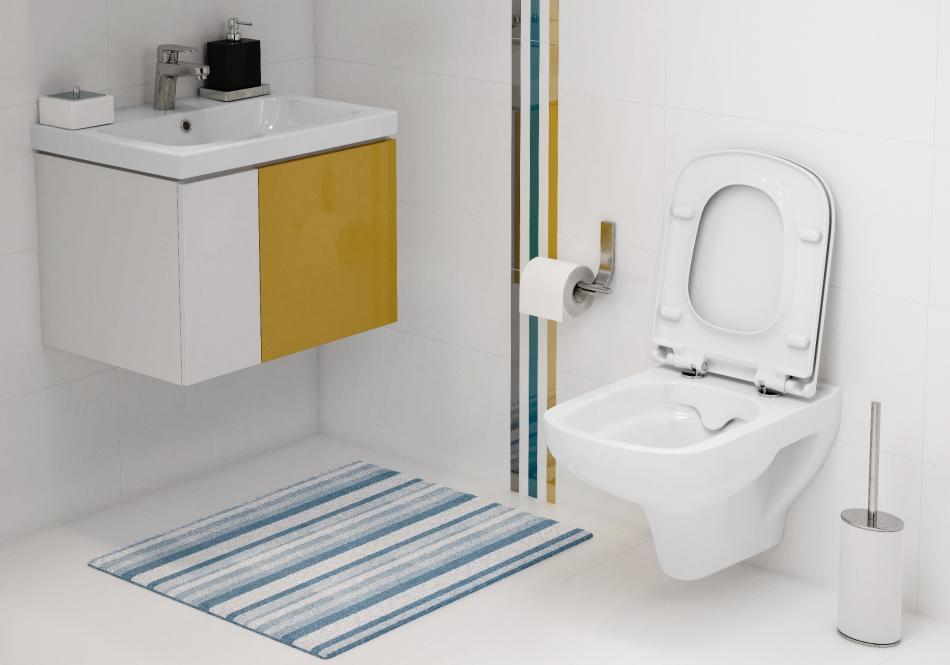 Bezkołnierzowa miska toaletowa CleanOn z serii Colour