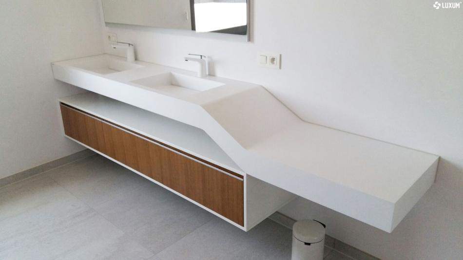Blat kompozytowy solid surface z dwiema umywalkami