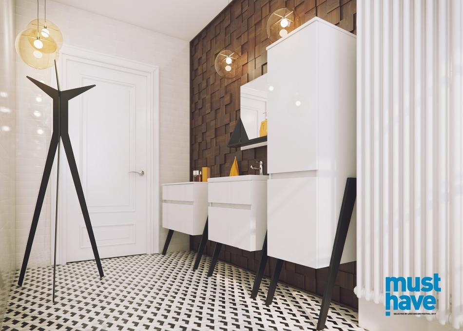 Meble łazienkowe z kolekcji OP-ARTY - stojący wieszak i konsola w łazience