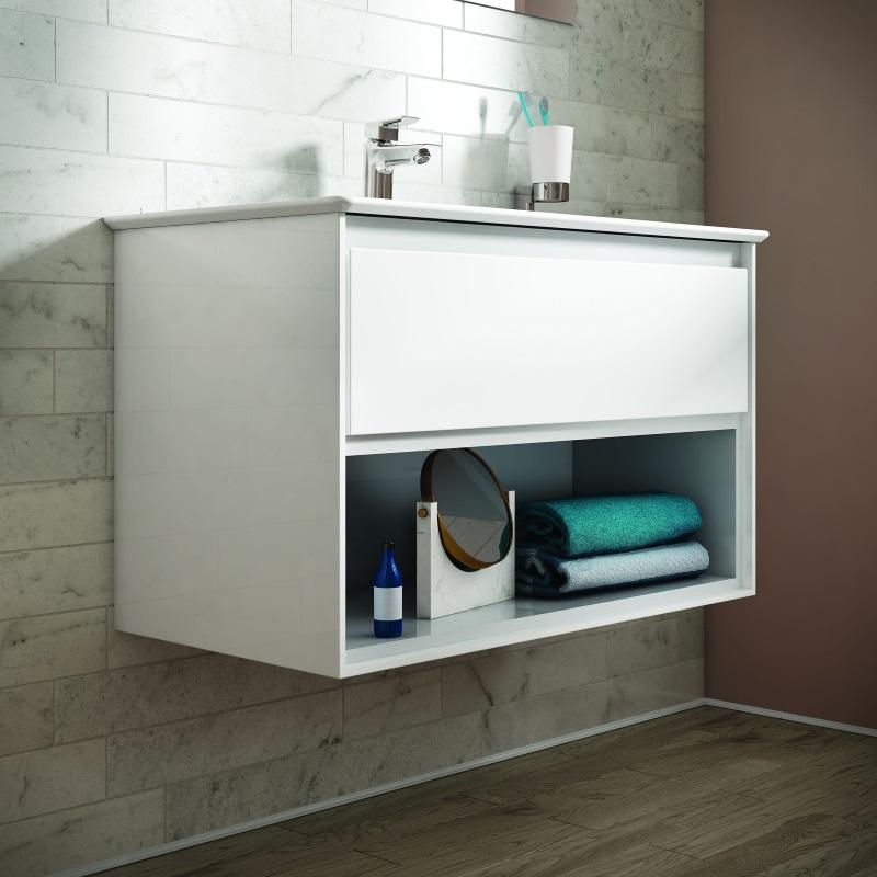 Ideal Standard - Szafka pod umywalkę z kolekcji Connect Air z otworem na ręczniki, akcesoria łazienkowe