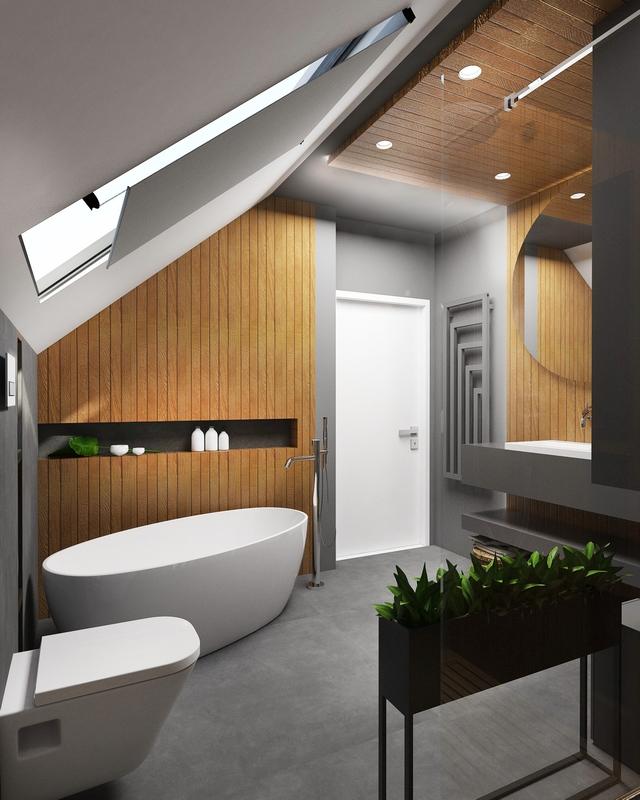 Aranżacje łazienek na poddaszu - galeria - Szara łazienka ...