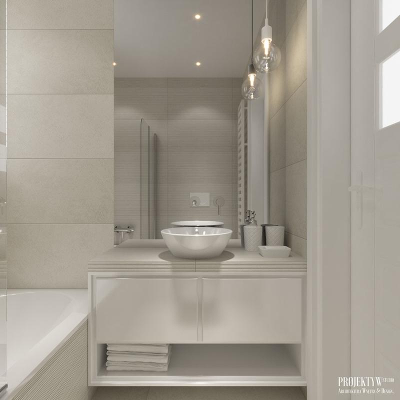 Szara łazienka z lustrem od sufitu do szafki umywalkowej