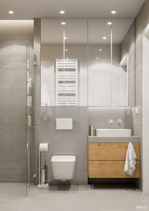 Szafka z lustrem w łazience z metaliczną mozaiką
