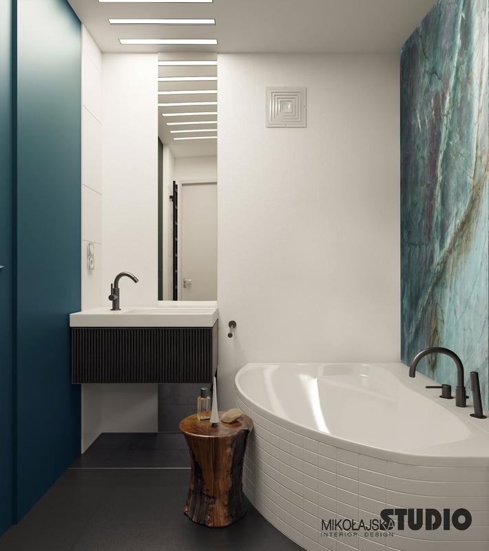 Nowoczesna łazienka z lustrem od sufitu do podłogi