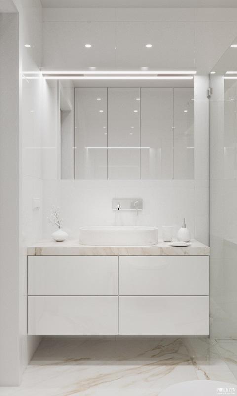 Lustro z podświetleniem w jasnej łazience