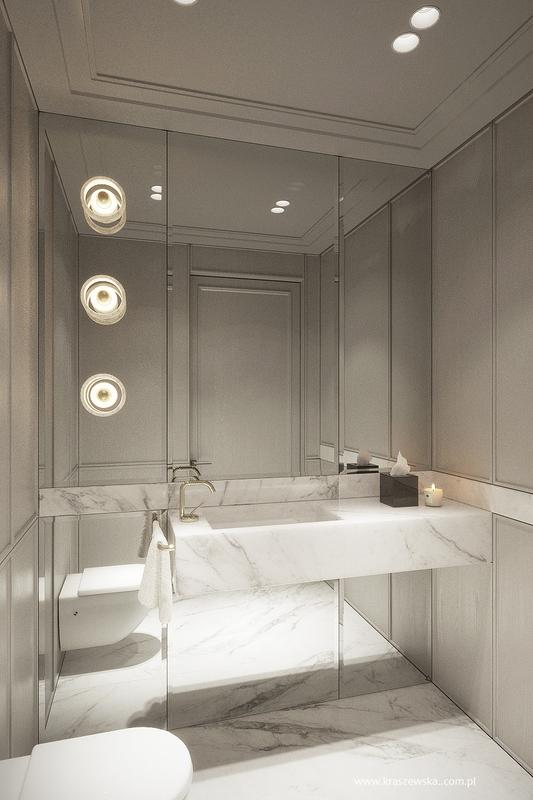 Lustro pokrywające ścianę w łazience z marmurem