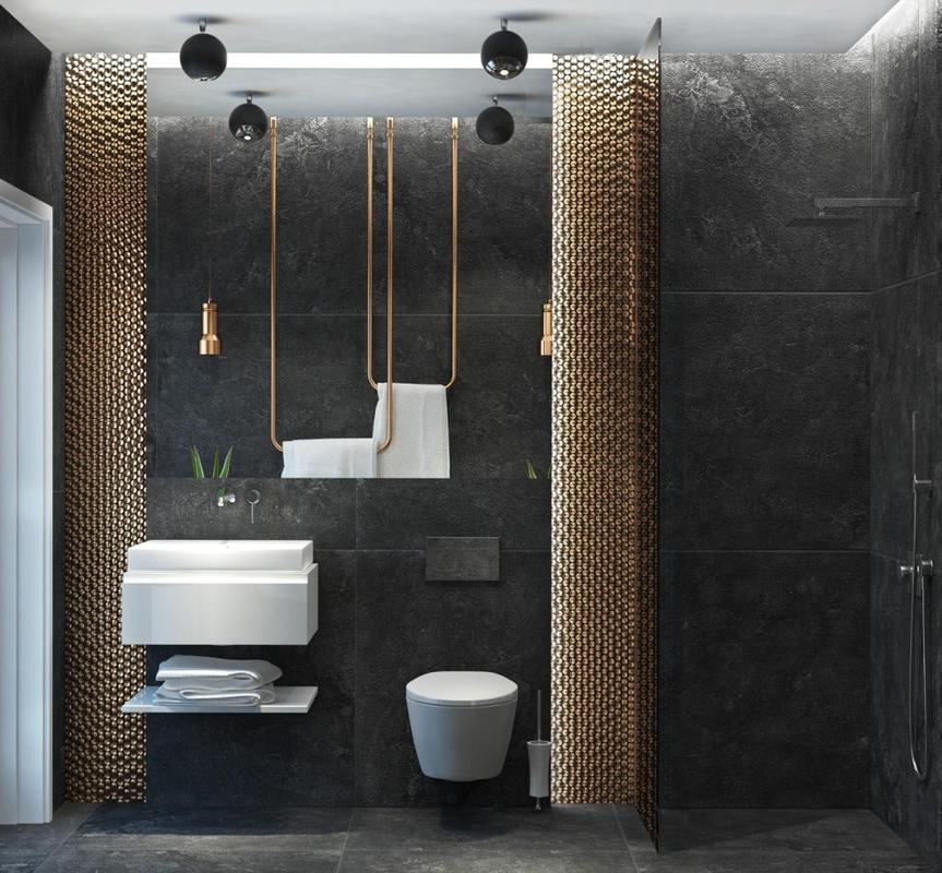 Kwadratowe lustro w aranżacji łazienki w ciemnych barwach