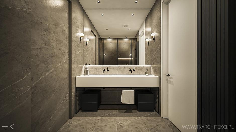 Duże lustro w łazience z szarym marmurem