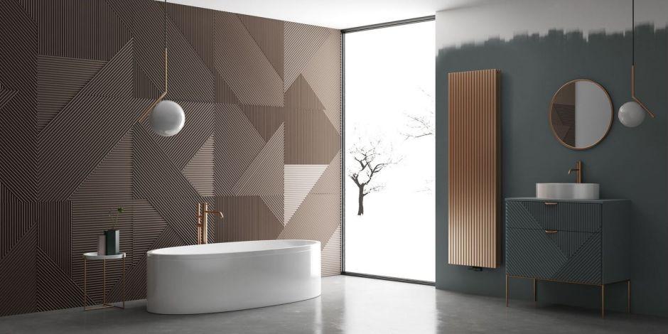 Duża łazienka z płytkami strukturalnymi na ścianie i okrągłym lustrem