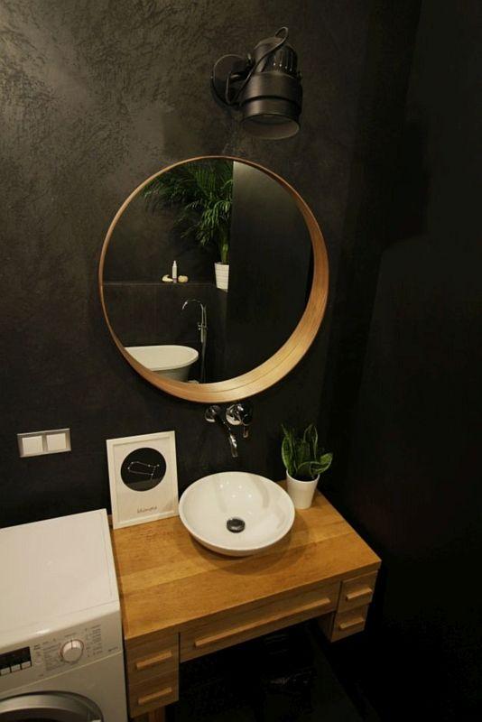 czarna łazienka - galeria - Okrągła umywalka na drewnianym ...