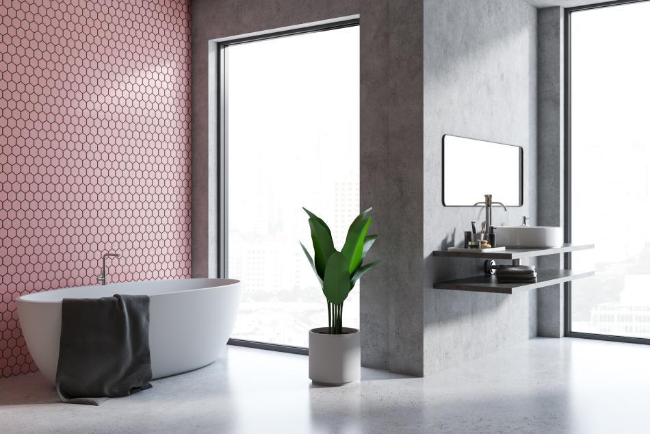 Mozaika Heksagon w kolorze różowym - Raw Decor