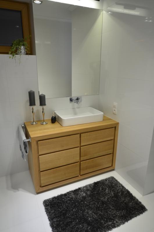 komoda łazienkowa z drewna dębowego, stojąca - Edar